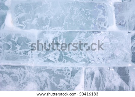 Closeup view of Ice brick wall, background