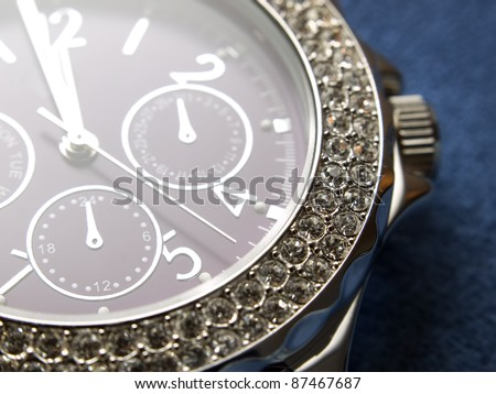 Closeup view of luxury woman's wristwatch.