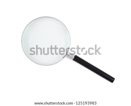 Closeup view of magnifying glass isolated over white background