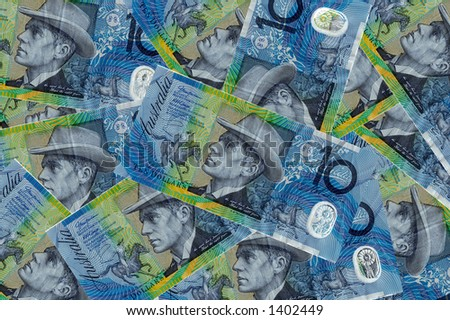 Closeup view of $10 notes in australian currency