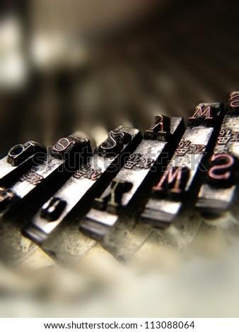 Closeup view of old typewriter keys