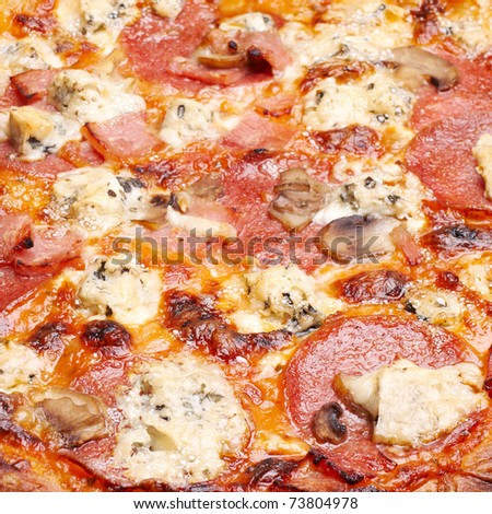 Closeup view of pizza with cheese, salami and mushrooms