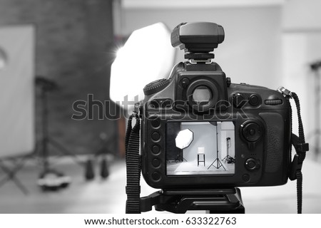 Closeup view of professional camera in studio #633322763