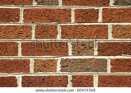 Closeup view of red brick wall background