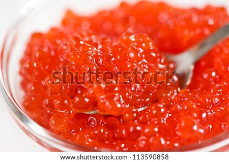 Closeup view of red caviar