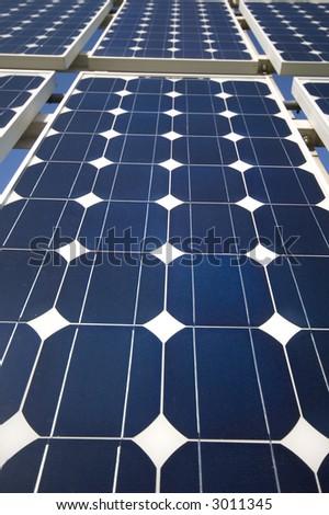 closeup view of solar panels