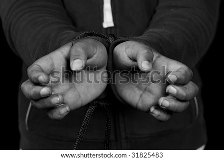 Closeup view of someone's hands being tied against their will