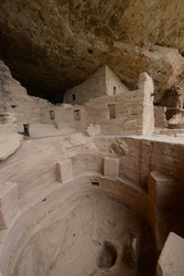 Closeup view of structures inside the ancient Anasazi cliff dwellings at Mesa Verde