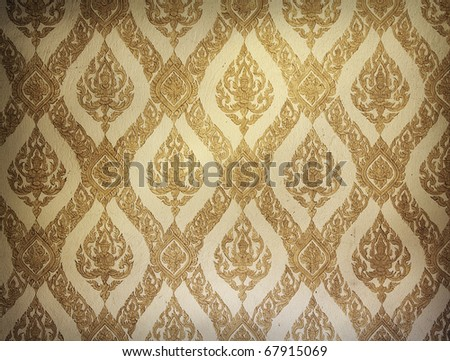 closeup view of textured wall in ancient buddhist temple, thailand