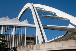 Closeup view of the arch over the moses mabhida stadium