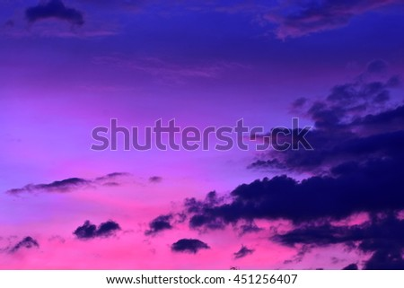 Closeup view of the cloudy, thundery sky. Saturated colors (blue, purple and violet) and soft texture. Ideal for desktop wallpaper. #451256407