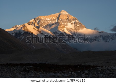 Closeup view of The north face of Mt. Everest before sunset, Tibet.