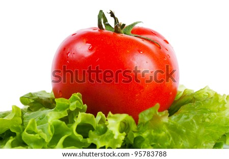 Closeup view of tomato on a lettuce leaf