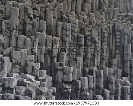 Closeup view of volcanic basalt columns on the famous Reynisfjara beach, a popular tourist destination in the south of Iceland. Stock fotó ©