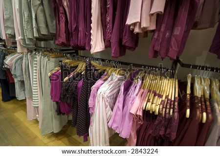 closeup view of womens clothes on a rack