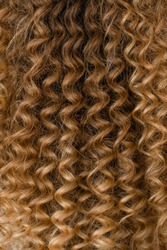 Closeup view vertical photography of amazing beautiful curly female long hairstyle made in professional beauty spa salon.