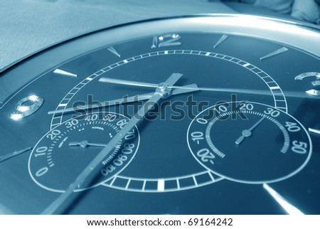 Closeup wall clock in close