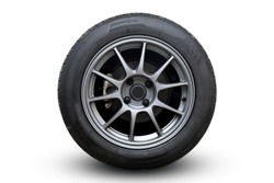 Closeup Wheel super car isolated on White background view. Move speed. Clipping path.