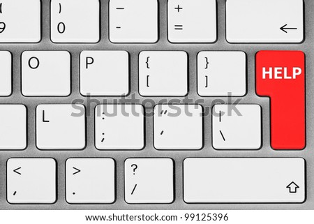 Closeup White Computer Keyboard with Red Key Help