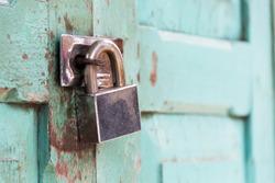 Closeup wooden door with lock