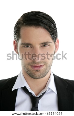 Closeup young man portrait black suit and necklace on white background