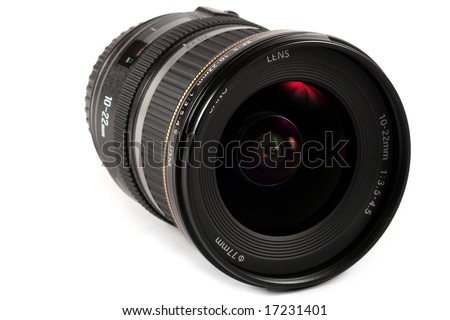 closup of a lens isolated on white
