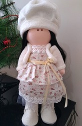 Cloth doll with dress and long black hair