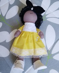 Cloth doll with dress and long hair