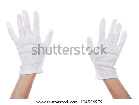 cloth glove on hands isolated on white