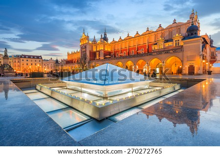 Cloth Hall Sukiennice building at night on main square of Krakow city, Poland