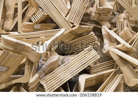 cloth hanger made of wood in pack disorder  stacking
