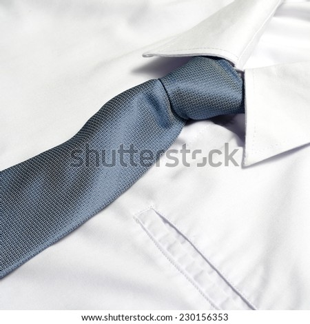 cloth white shirt with blue neck tie #230156353