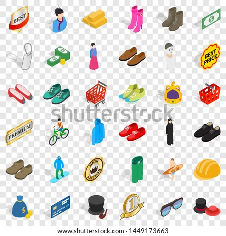Clothes and accessories icons set. Isometric style of 36 clothes and accessories icons for web for any design