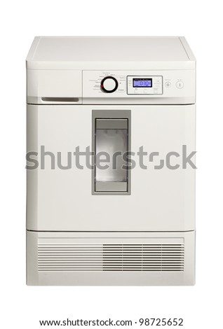 Clothes dryer machine with the function of ironing isolated over white.