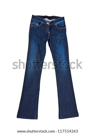clothes for females - Jeans pants isolated on white background