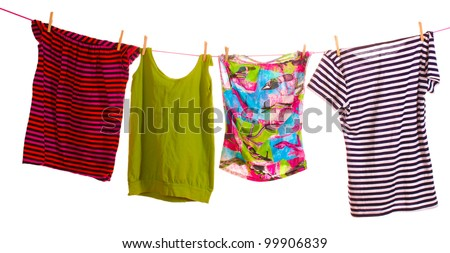 Clothes hanging isolated on white