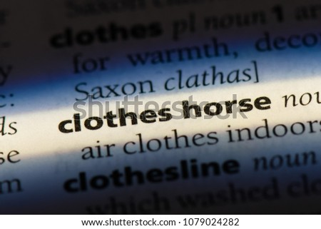 clothes horse word in a dictionary. clothes horse concept #1079024282