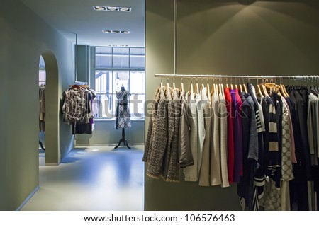 clothes in interior of  fashion shop