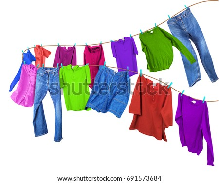 Clothes on a clothesline. #691573684