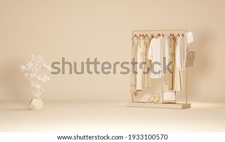 Clothes on a hanger, storage shelf in a cream background. Collection of clothes hanging on rack with neutral beige colors. 3d rendering, concept for shopping store and bedroom