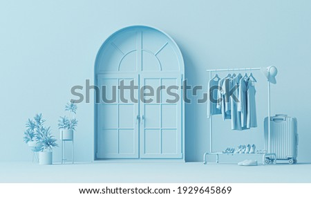 Clothes on a hanger, storage shelf in pastel blue background. Collection of clothes hanging on rack, plants and door concept. 3d rendering, concept for shopping store and bedroom, studio, life style