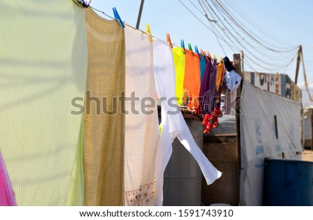 Clothes on Clothes Line, Refuge Camp in Lebanon