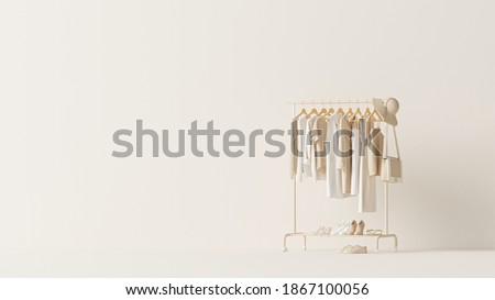 Clothes on grunge background, shelf on cream background. Collection of clothes hanging on a rack in neutral beige colors. 3d rendering, store and bedroom concept  Stockfoto ©