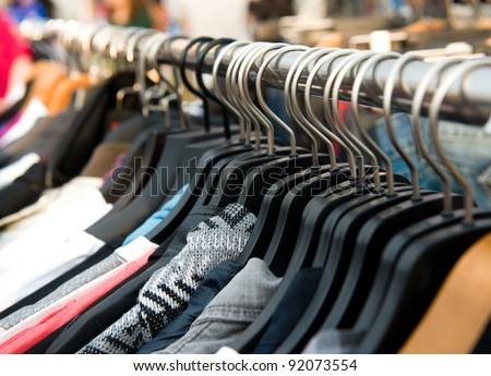 clothes on racks at the show.