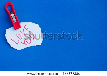 Clothes peg holds a piece of paper #1166372386