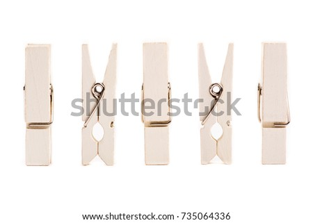 Clothes pegs  isolated on white background.