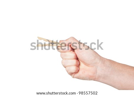 Clothespin in his hand. On a white background.