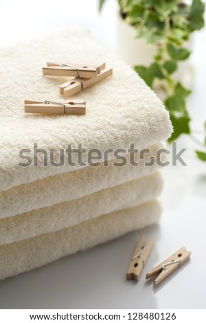 Clothespins and towel