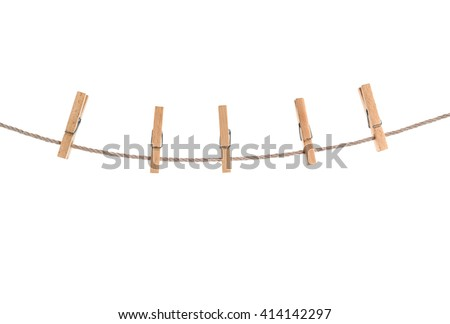 clothespins on rope isolated