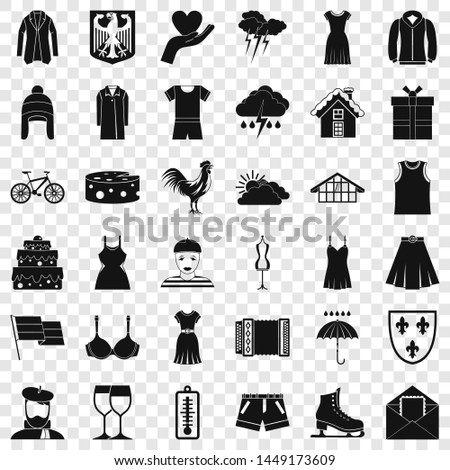 Clothing accessories icons set. Simple style of 36 clothing accessories icons for web for any design